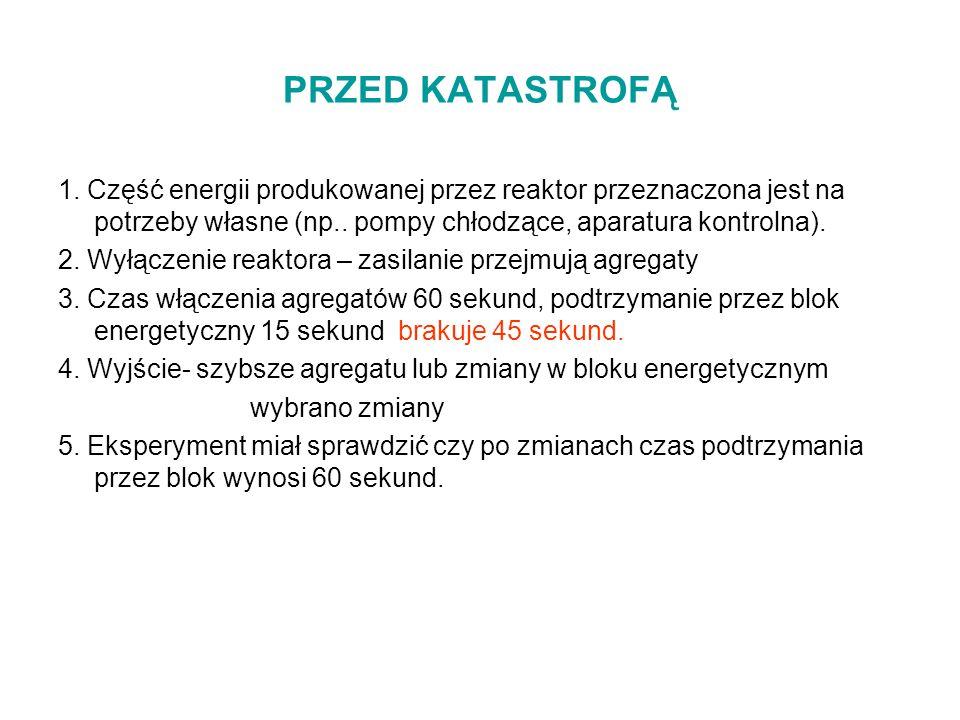 PRZED KATASTROFĄ 1. Część energii produkowanej przez reaktor przeznaczona jest na potrzeby własne (np.. pompy chłodzące, aparatura kontrolna).