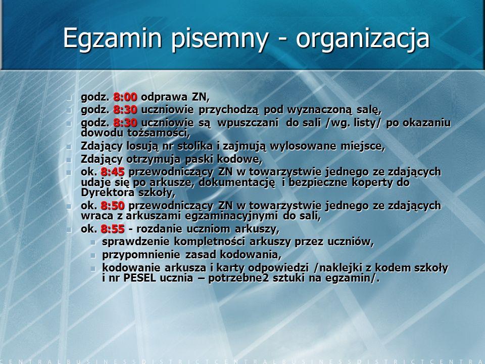 Egzamin pisemny - organizacja