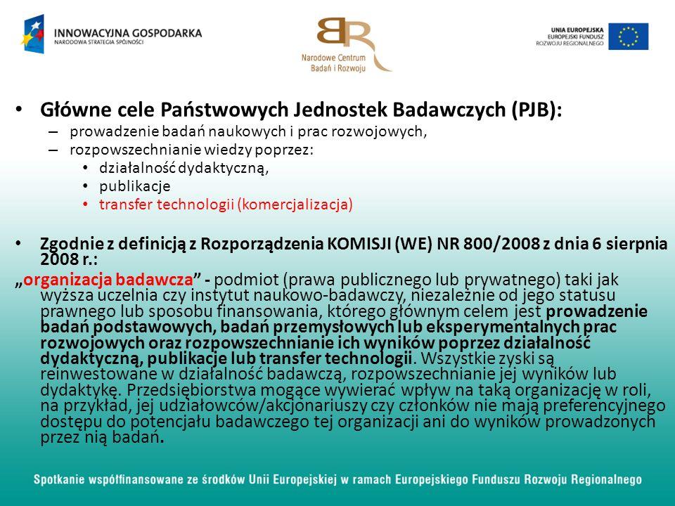 Główne cele Państwowych Jednostek Badawczych (PJB):