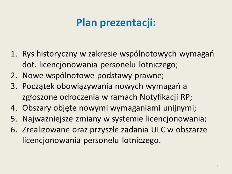 Plan prezentacji: Rys historyczny w zakresie wspólnotowych wymagań dot. licencjonowania personelu lotniczego;