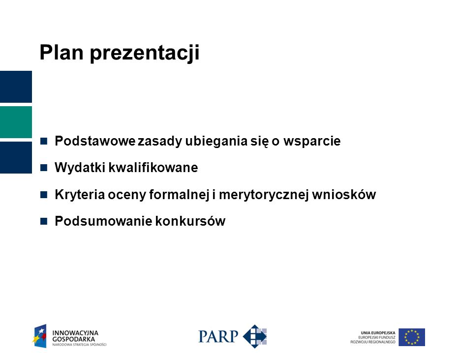 Plan prezentacji Podstawowe zasady ubiegania się o wsparcie