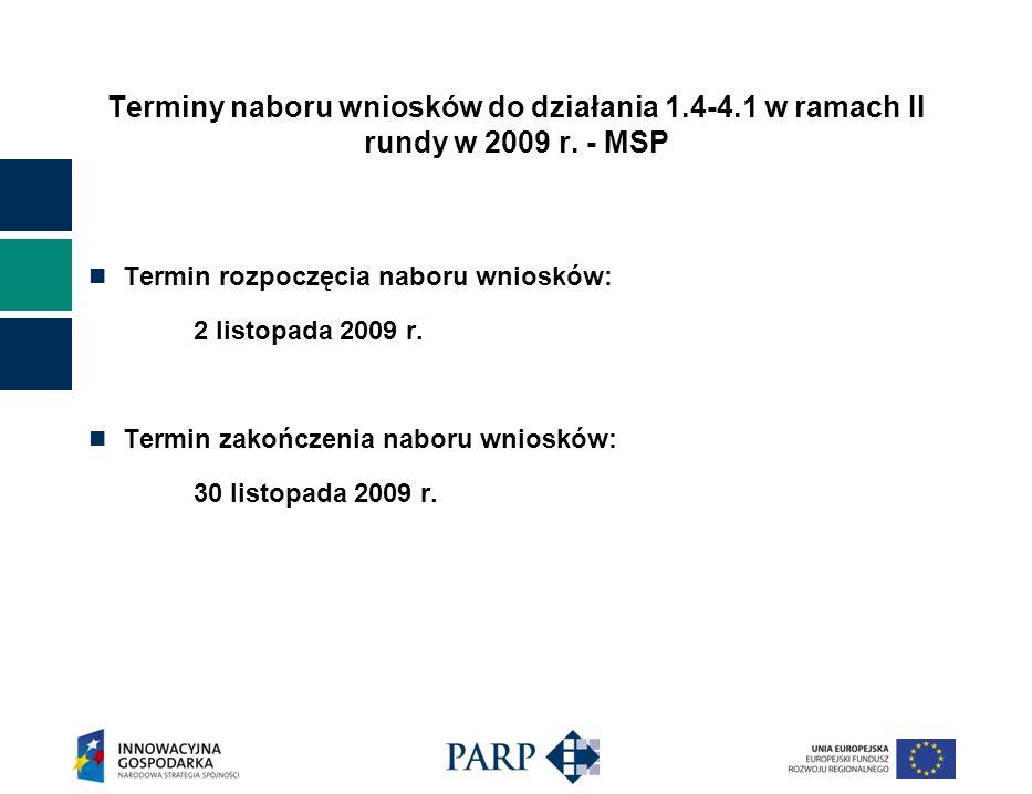 Terminy naboru wniosków do działania 1. 4-4
