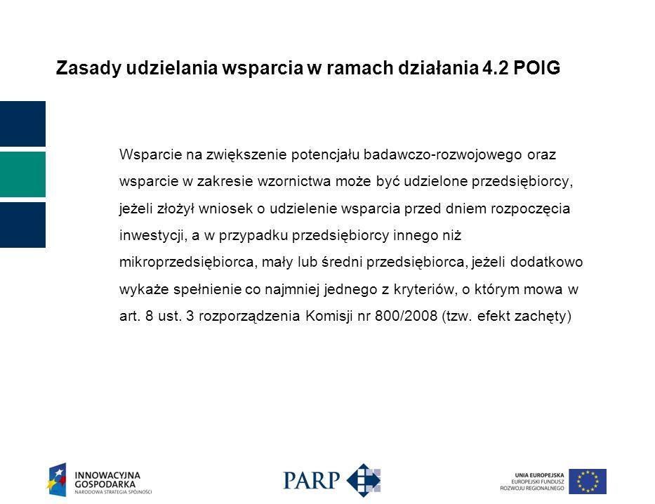 Zasady udzielania wsparcia w ramach działania 4.2 POIG