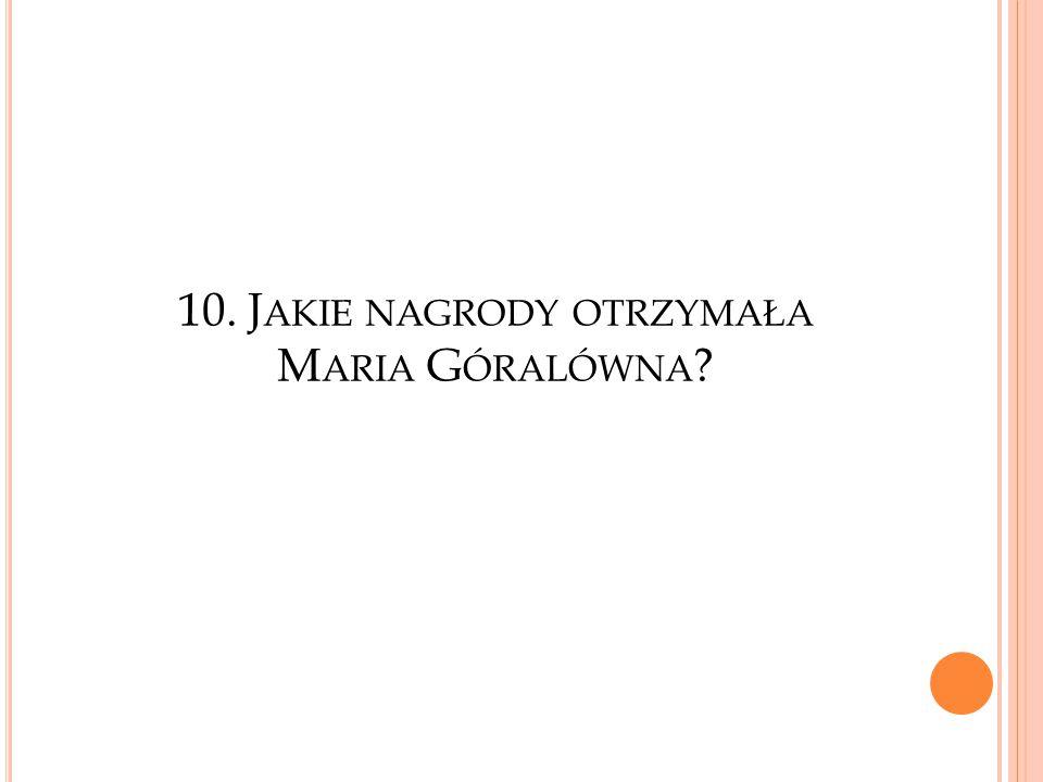 10. Jakie nagrody otrzymała Maria Góralówna