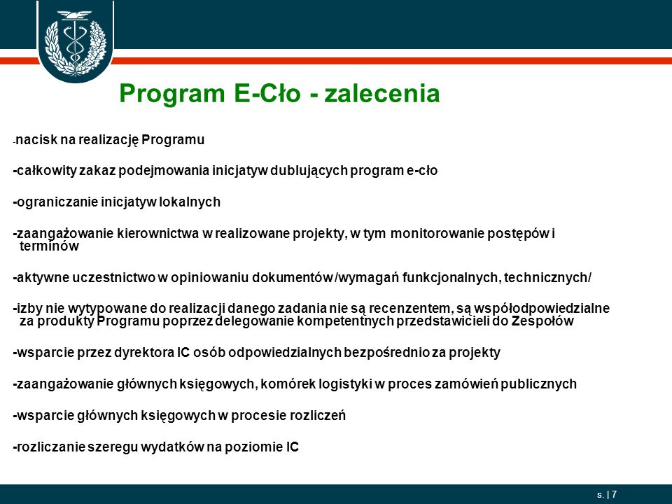 Program E-Cło - zalecenia