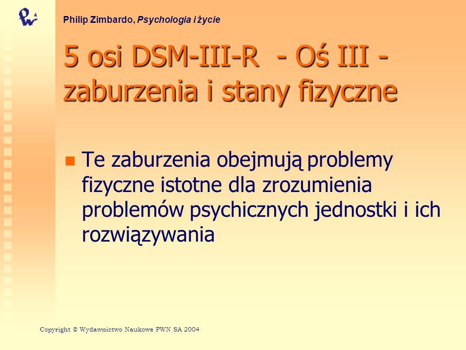5 osi DSM-III-R - Oś III - zaburzenia i stany fizyczne