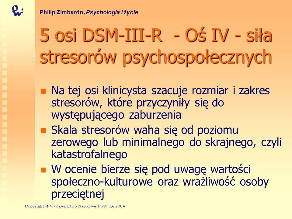 5 osi DSM-III-R - Oś IV - siła stresorów psychospołecznych