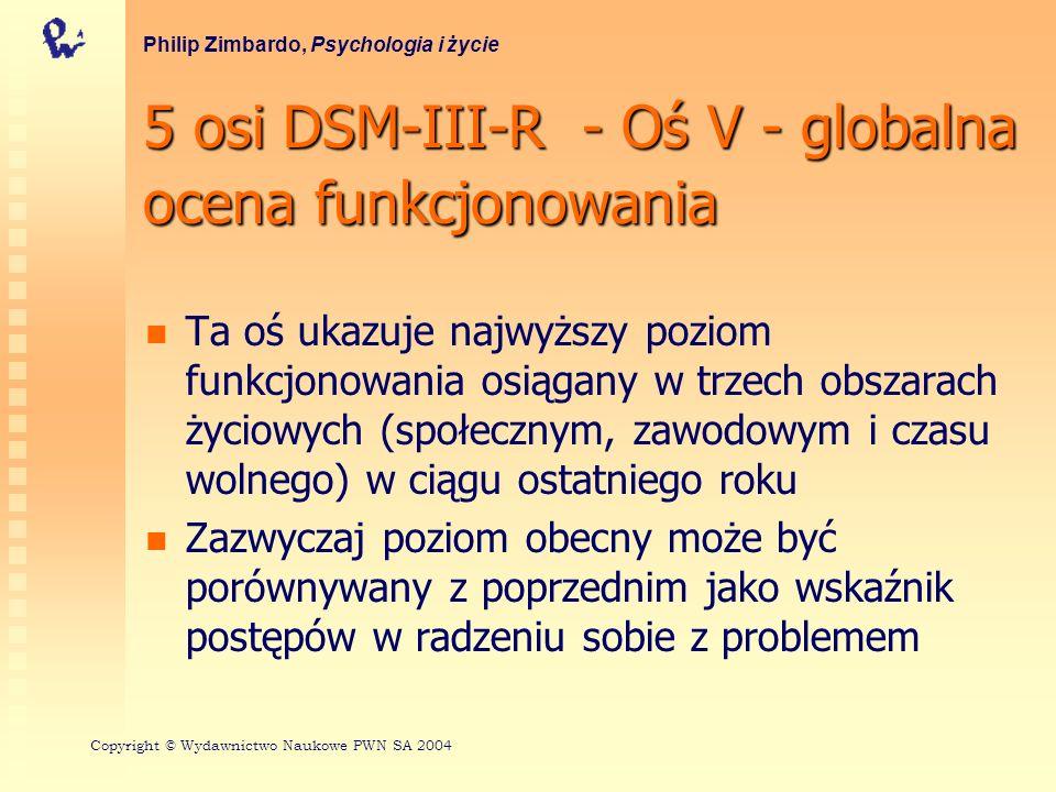 5 osi DSM-III-R - Oś V - globalna ocena funkcjonowania