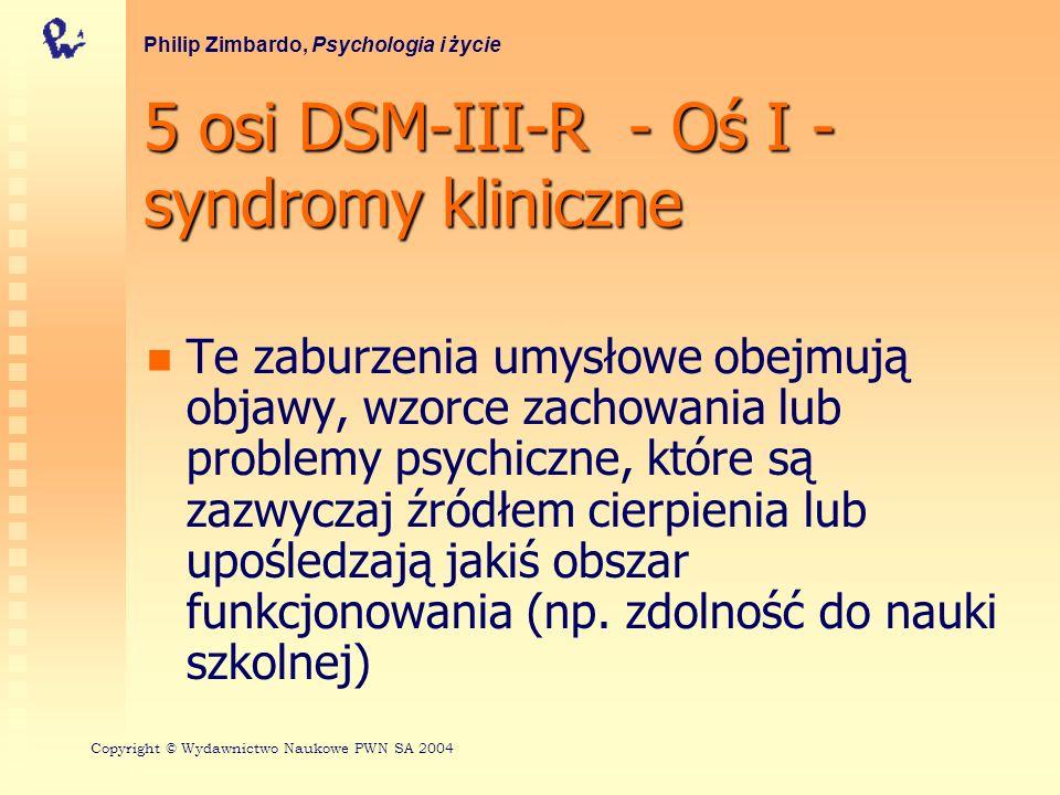 5 osi DSM-III-R - Oś I - syndromy kliniczne