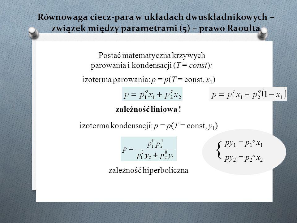 Równowaga ciecz-para w układach dwuskładnikowych – związek między parametrami (5) – prawo Raoulta