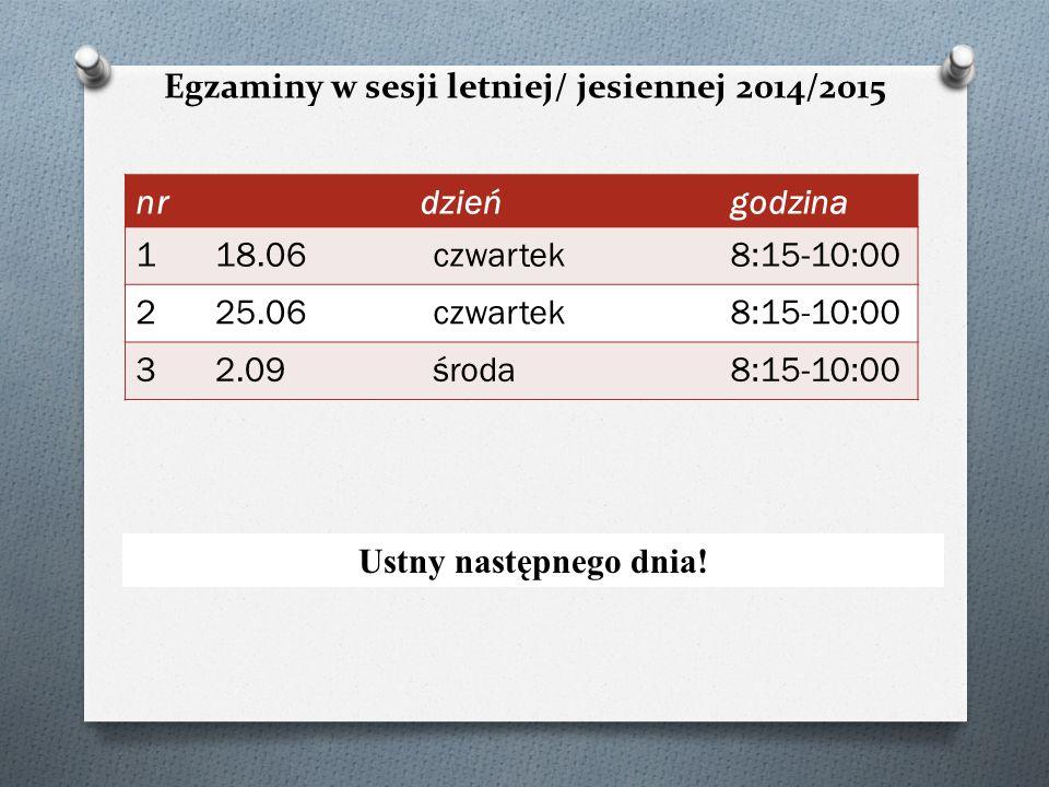 Egzaminy w sesji letniej/ jesiennej 2014/2015