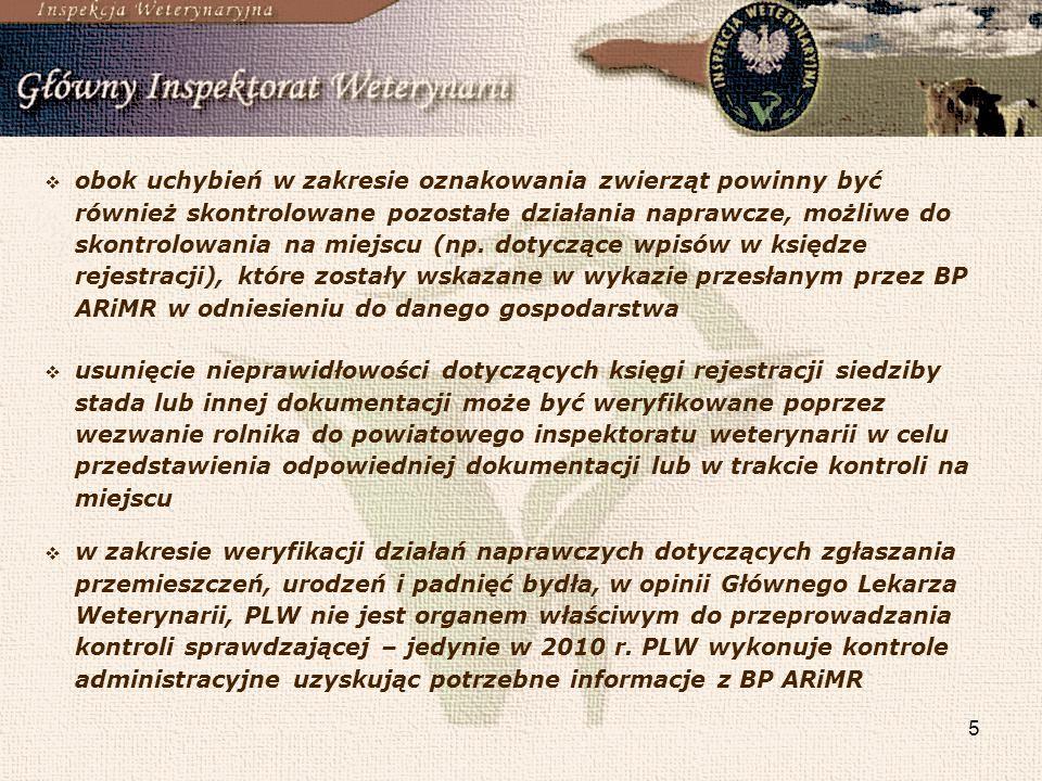 obok uchybień w zakresie oznakowania zwierząt powinny być również skontrolowane pozostałe działania naprawcze, możliwe do skontrolowania na miejscu (np. dotyczące wpisów w księdze rejestracji), które zostały wskazane w wykazie przesłanym przez BP ARiMR w odniesieniu do danego gospodarstwa