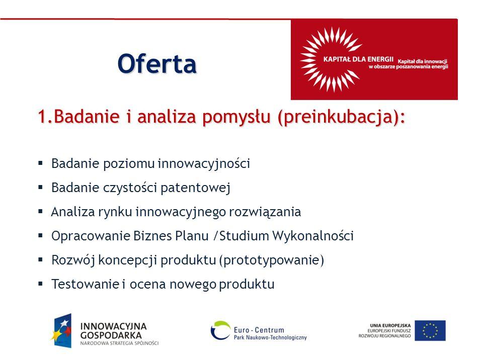 Oferta Badanie i analiza pomysłu (preinkubacja):