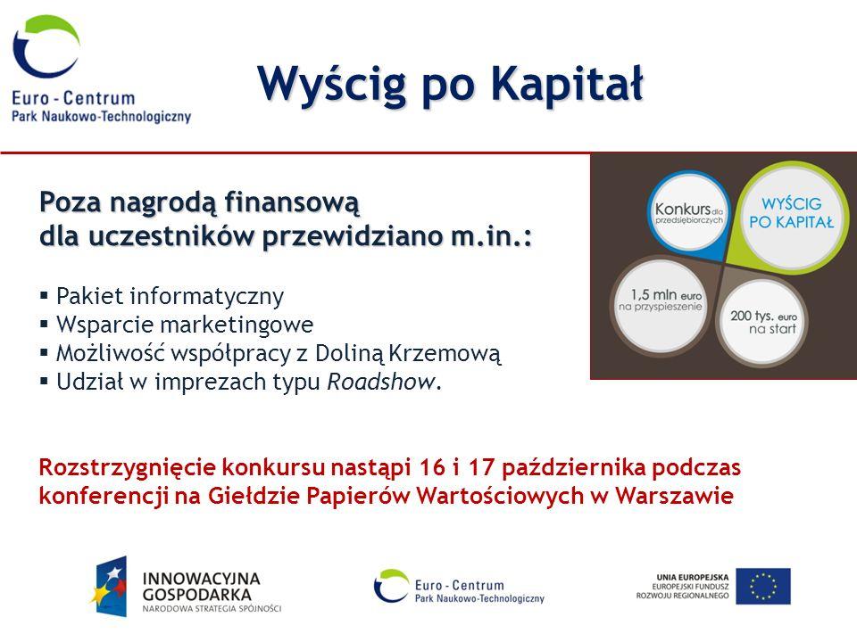 Wyścig po Kapitał Poza nagrodą finansową dla uczestników przewidziano m.in.: Pakiet informatyczny.