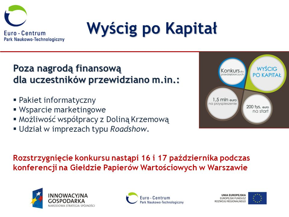 Wyścig po KapitałPoza nagrodą finansową dla uczestników przewidziano m.in.: Pakiet informatyczny. Wsparcie marketingowe.