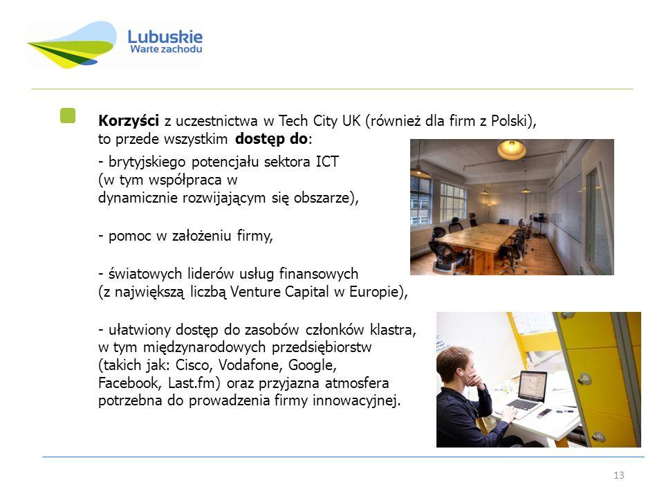 Korzyści z uczestnictwa w Tech City UK (również dla firm z Polski), to przede wszystkim dostęp do: