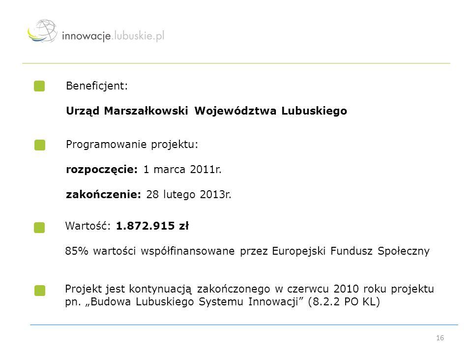 Beneficjent: Urząd Marszałkowski Województwa Lubuskiego. Programowanie projektu: rozpoczęcie: 1 marca 2011r.