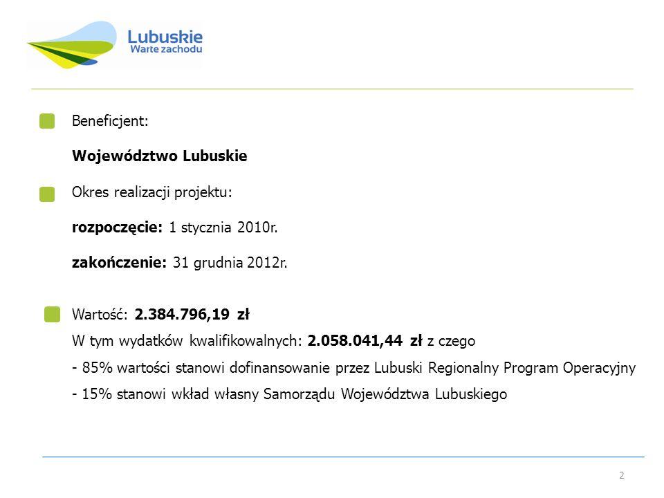 Beneficjent: Województwo Lubuskie. Okres realizacji projektu: rozpoczęcie: 1 stycznia 2010r. zakończenie: 31 grudnia 2012r.