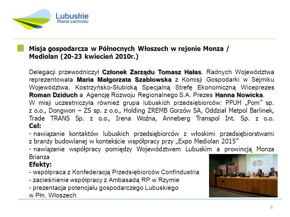 Misja gospodarcza w Północnych Włoszech w rejonie Monza /