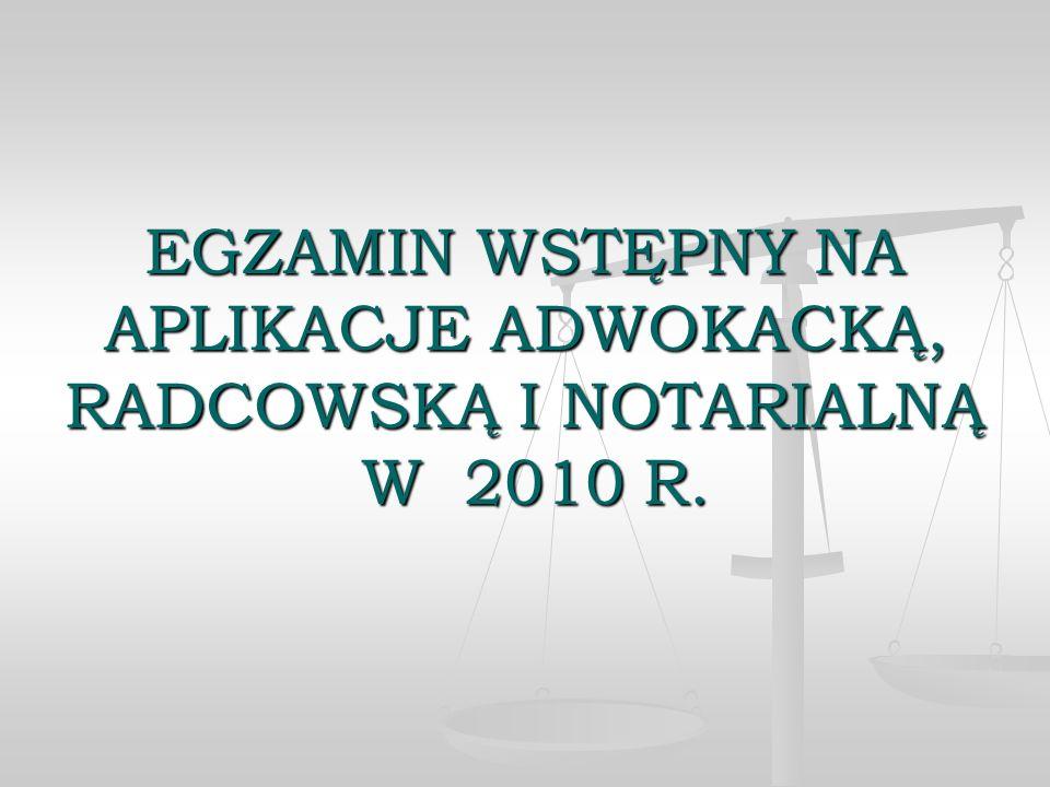 EGZAMIN WSTĘPNY NA APLIKACJE ADWOKACKĄ, RADCOWSKĄ I NOTARIALNĄ W 2010 R.