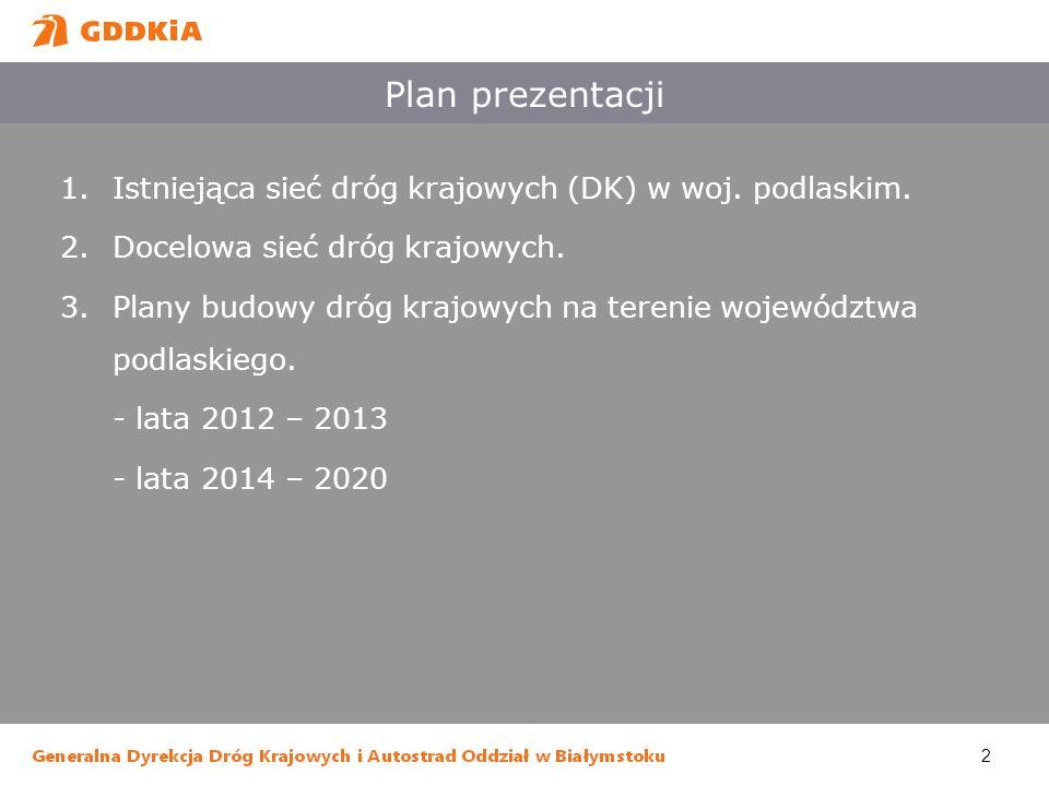 Plan prezentacji Istniejąca sieć dróg krajowych (DK) w woj. podlaskim.