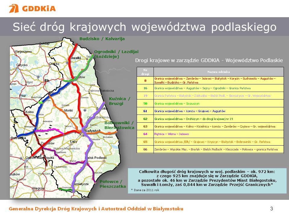 Sieć dróg krajowych województwa podlaskiego