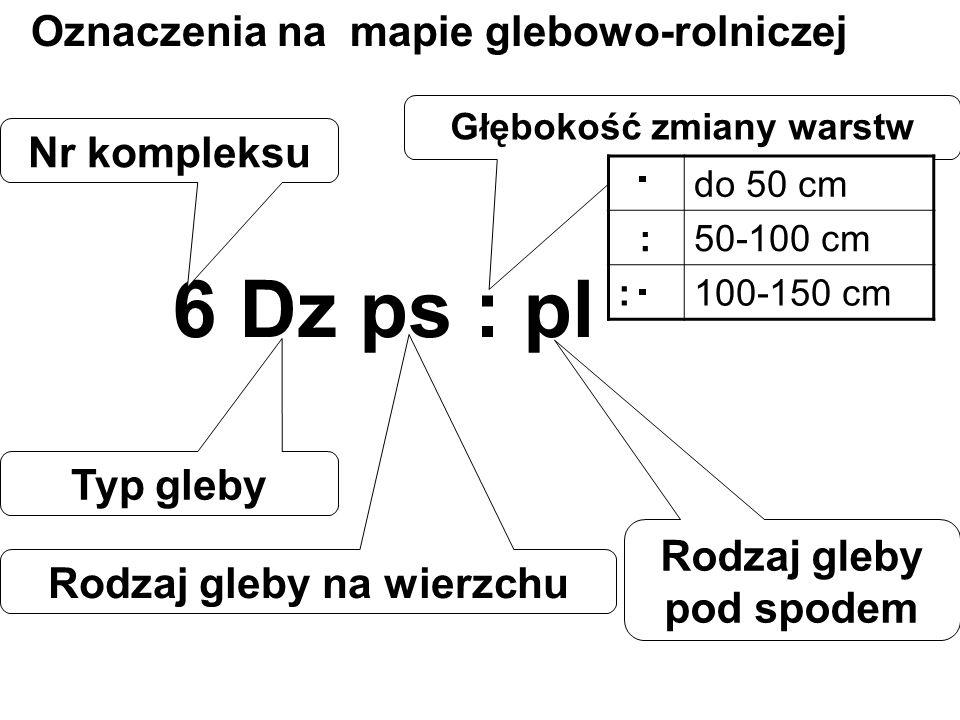 6 Dz ps : pl Nr kompleksu Typ gleby Rodzaj gleby pod spodem