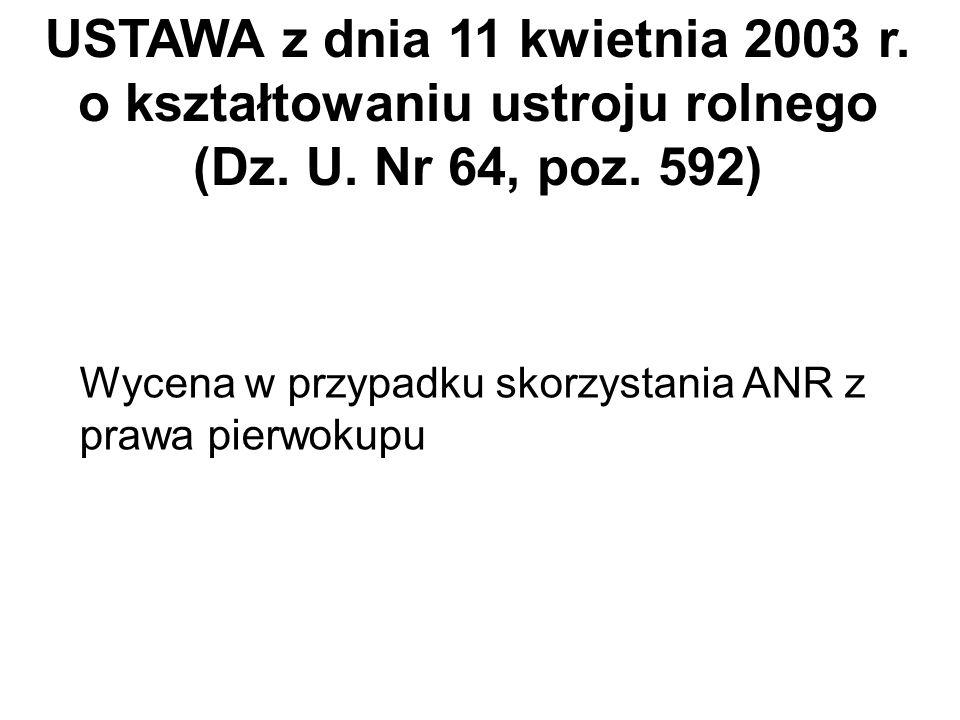 USTAWA z dnia 11 kwietnia 2003 r. o kształtowaniu ustroju rolnego
