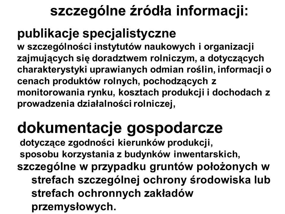 szczególne źródła informacji: