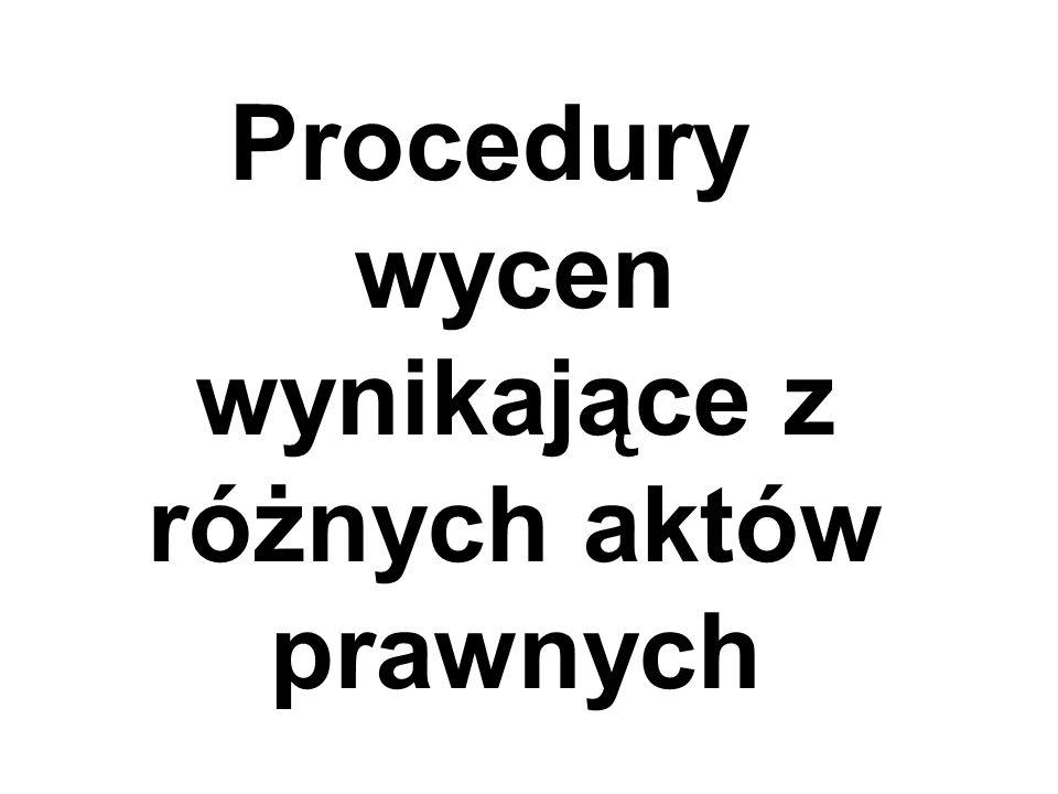 Procedury wycen wynikające z różnych aktów prawnych