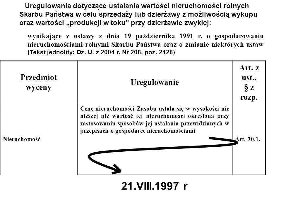 21.VIII.1997 r Przedmiot wyceny Uregulowanie Art. z ust., § z rozp.