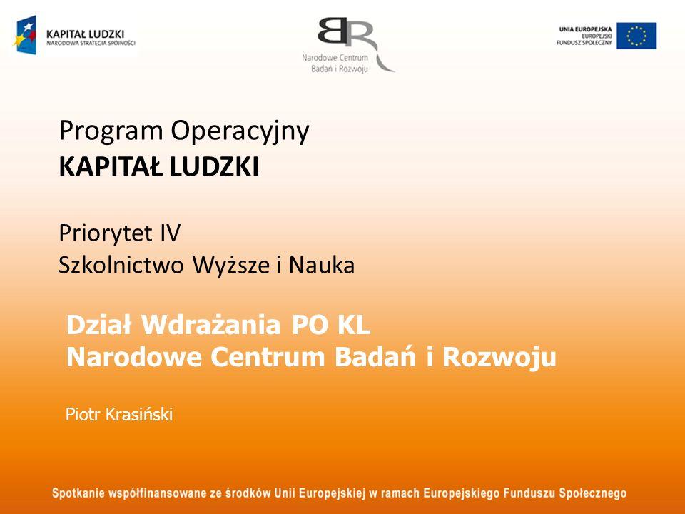 Dział Wdrażania PO KL Narodowe Centrum Badań i Rozwoju Piotr Krasiński