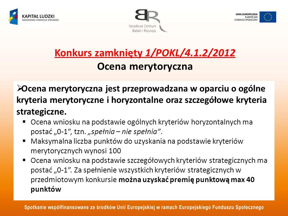 Konkurs zamknięty 1/POKL/4.1.2/2012 Ocena merytoryczna