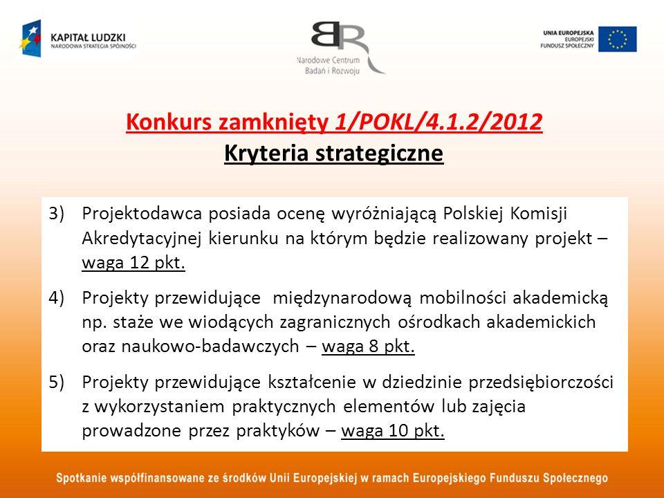 Konkurs zamknięty 1/POKL/4.1.2/2012 Kryteria strategiczne