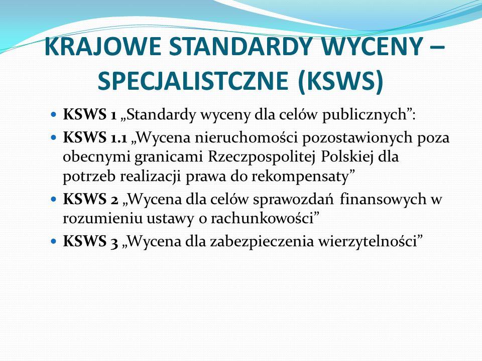 KRAJOWE STANDARDY WYCENY – SPECJALISTCZNE (KSWS)