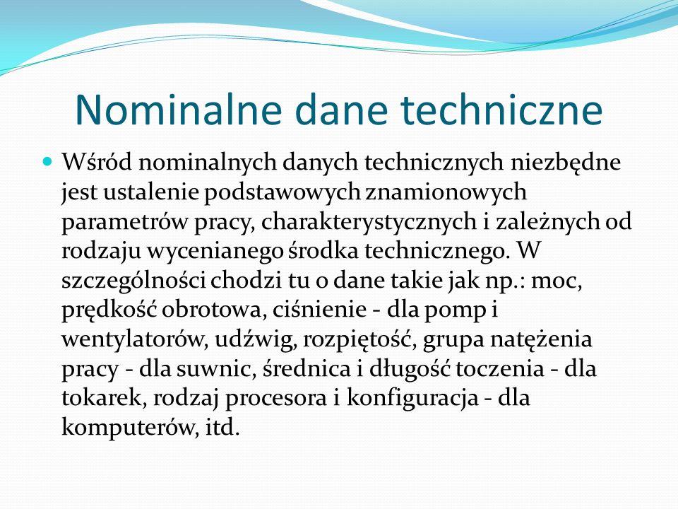 Nominalne dane techniczne