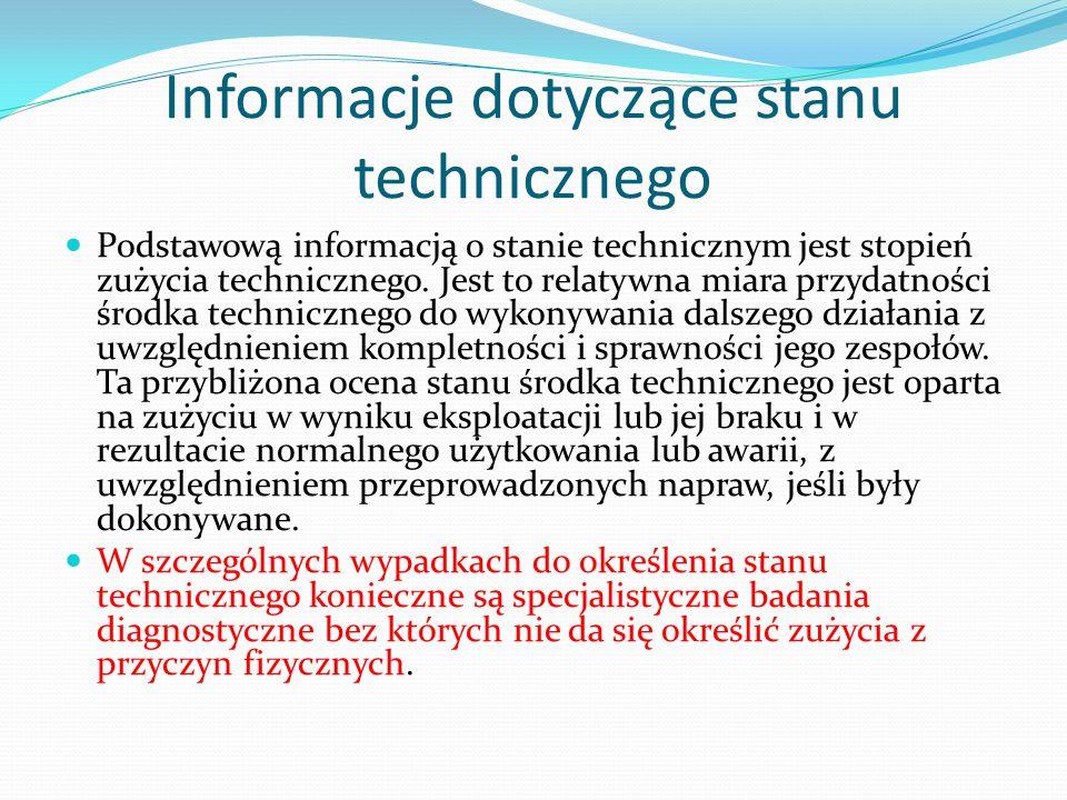 Informacje dotyczące stanu technicznego