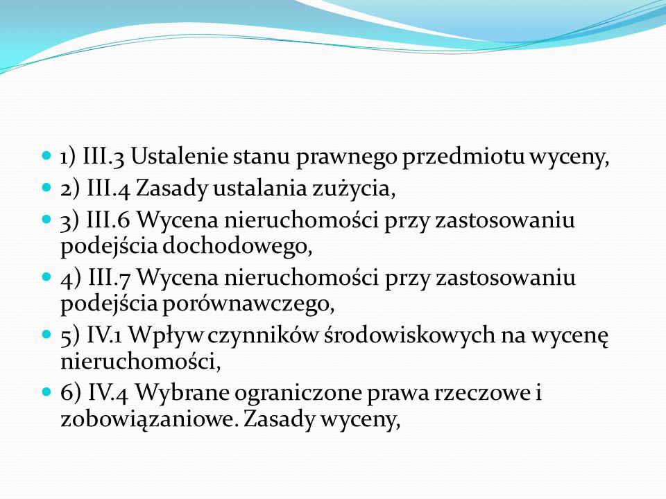 1) III.3 Ustalenie stanu prawnego przedmiotu wyceny,