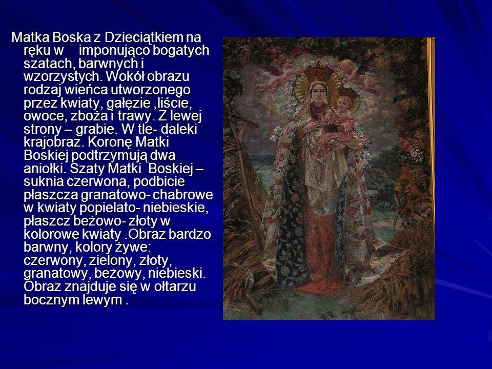 Matka Boska z Dzieciątkiem na ręku w imponująco bogatych szatach, barwnych i wzorzystych.