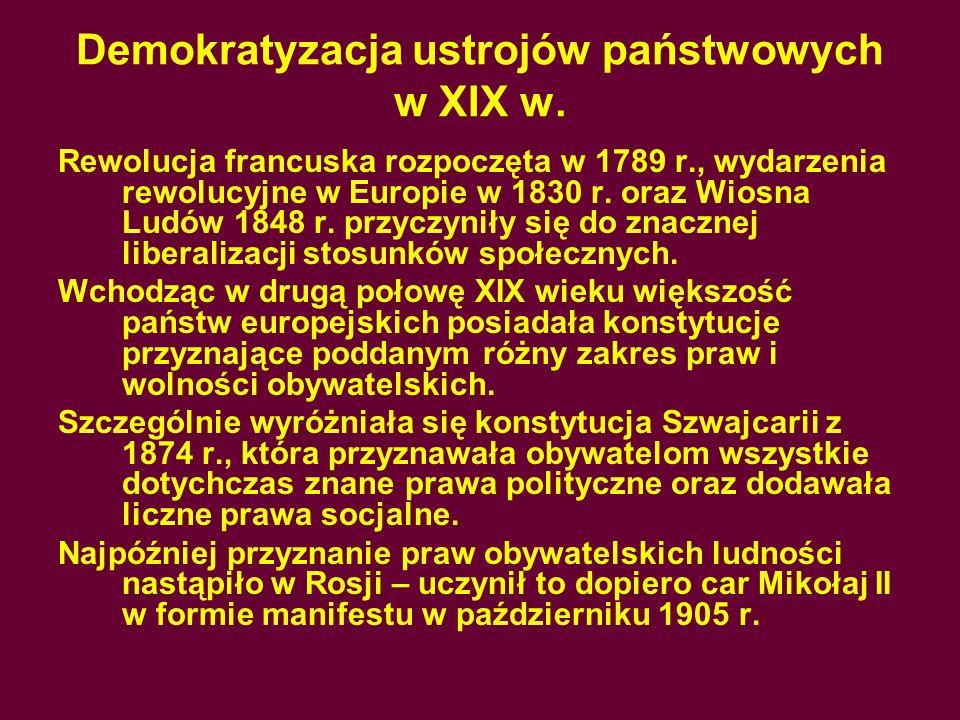 Demokratyzacja ustrojów państwowych w XIX w.