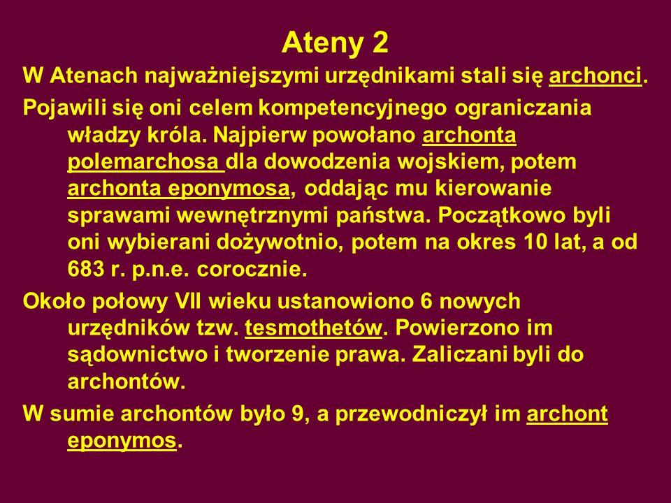 Ateny 2 W Atenach najważniejszymi urzędnikami stali się archonci.