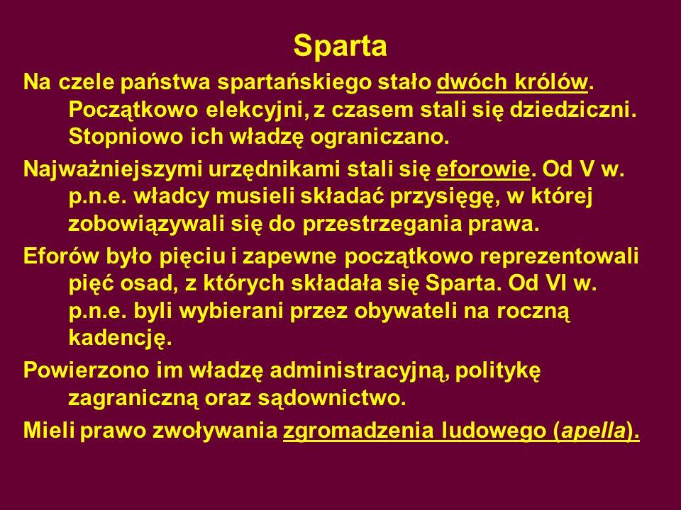 SpartaNa czele państwa spartańskiego stało dwóch królów. Początkowo elekcyjni, z czasem stali się dziedziczni. Stopniowo ich władzę ograniczano.