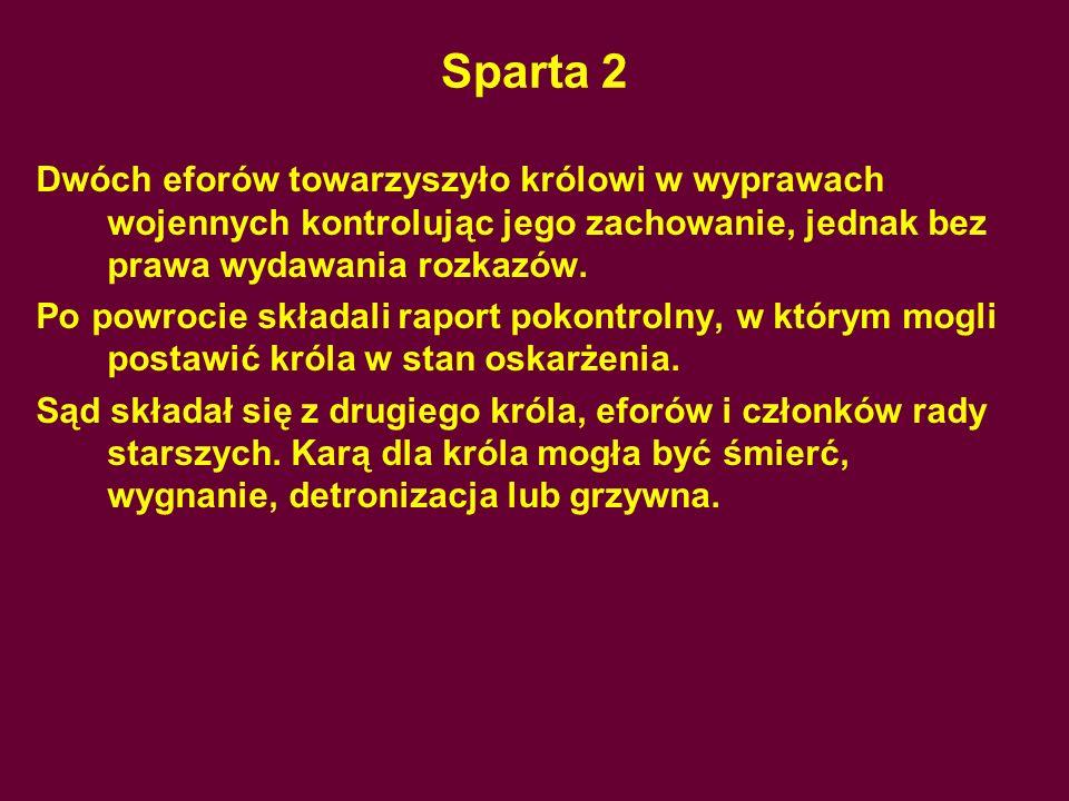 Sparta 2Dwóch eforów towarzyszyło królowi w wyprawach wojennych kontrolując jego zachowanie, jednak bez prawa wydawania rozkazów.