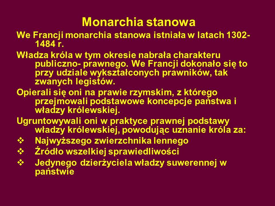 Monarchia stanowaWe Francji monarchia stanowa istniała w latach 1302-1484 r.
