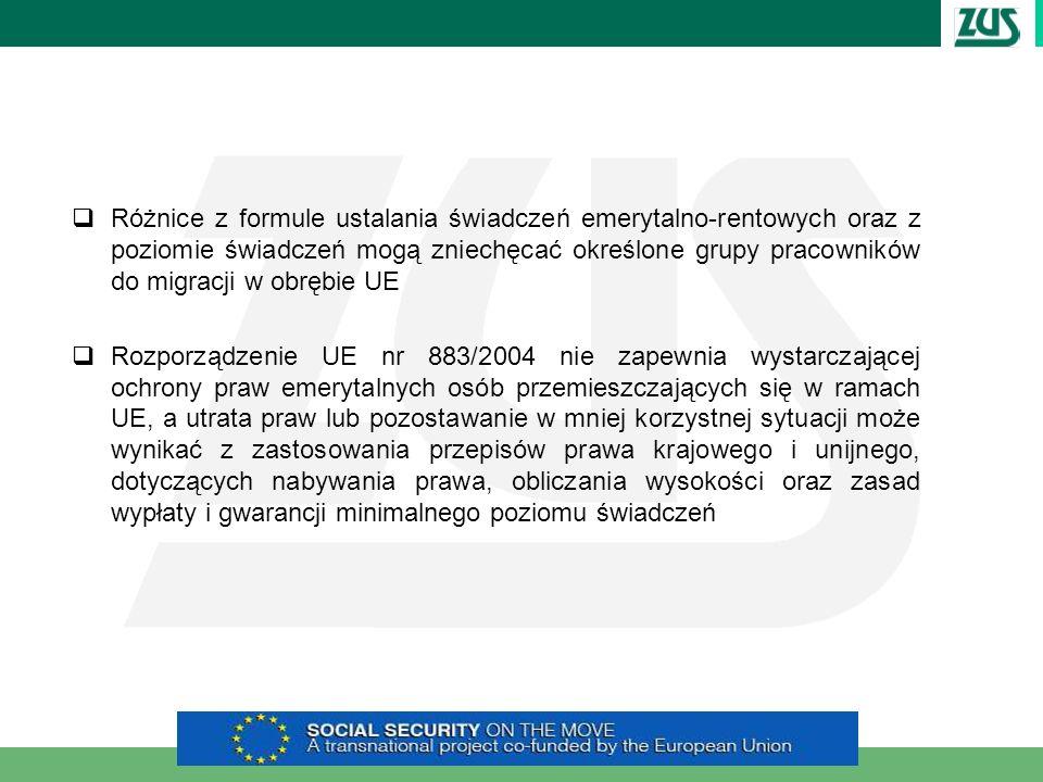 Różnice z formule ustalania świadczeń emerytalno-rentowych oraz z poziomie świadczeń mogą zniechęcać określone grupy pracowników do migracji w obrębie UE