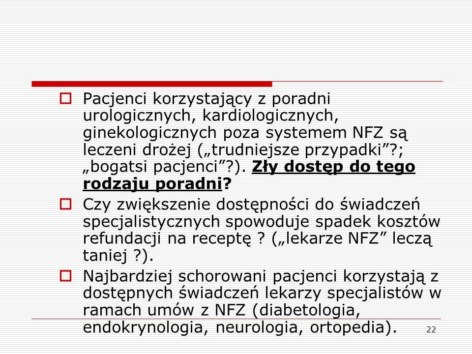 """Pacjenci korzystający z poradni urologicznych, kardiologicznych, ginekologicznych poza systemem NFZ są leczeni drożej (""""trudniejsze przypadki ; """"bogatsi pacjenci ). Zły dostęp do tego rodzaju poradni"""