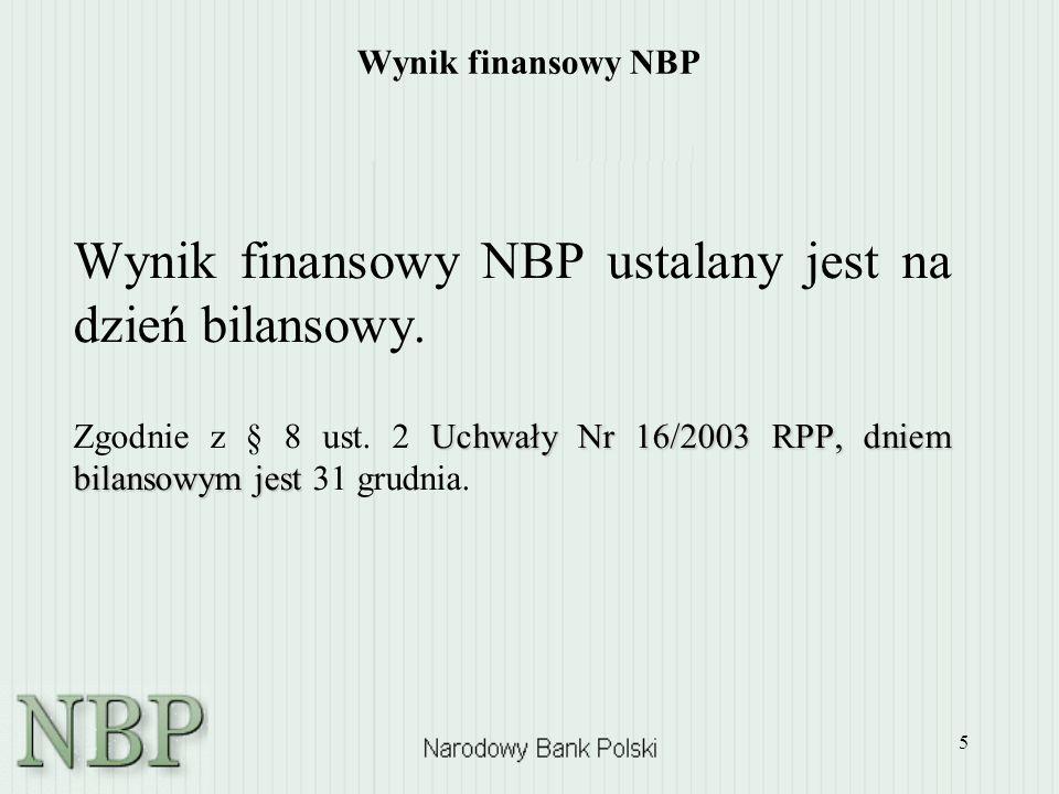 Wynik finansowy NBP ustalany jest na dzień bilansowy.