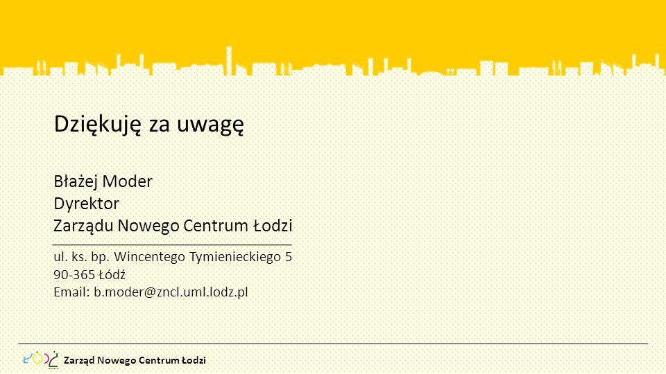 Dziękuję za uwagę Błażej Moder Dyrektor Zarządu Nowego Centrum Łodzi