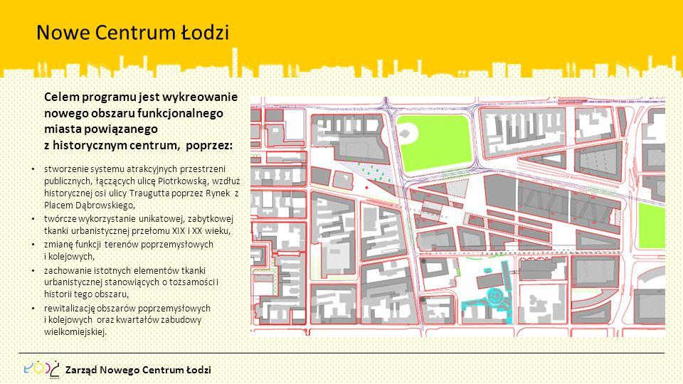 Nowe Centrum Łodzi Celem programu jest wykreowanie nowego obszaru funkcjonalnego miasta powiązanego.