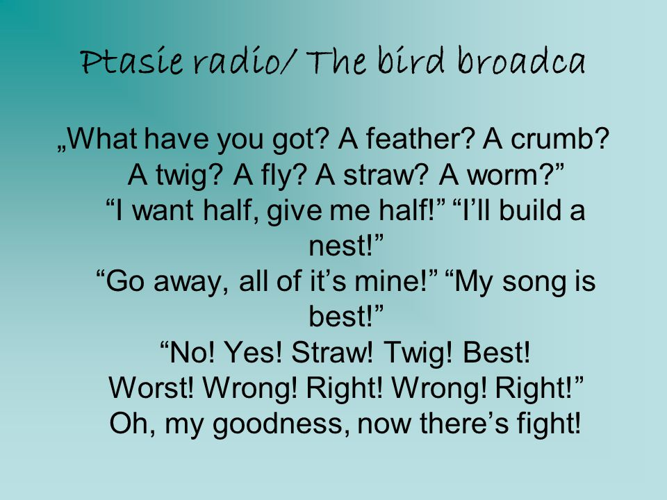 Ptasie radio/ The bird broadca